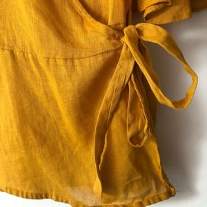 Old Navy Tops - Mustard yellow wrap shirt